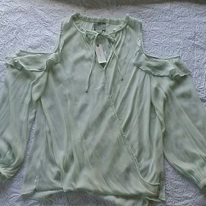 Anthropologie MAEVE cold shoulders mint shirt